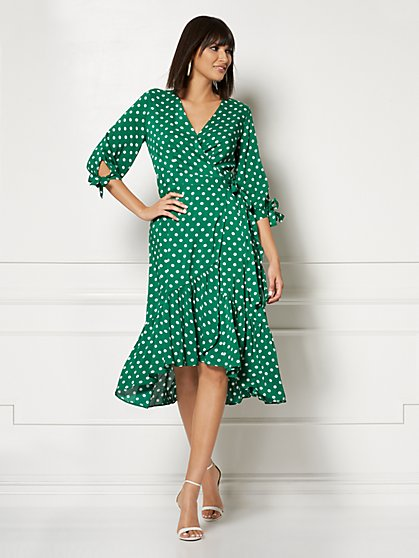 Cassidy Polka-Dot Wrap Dress - Eva Mendes Collection - New York & Company