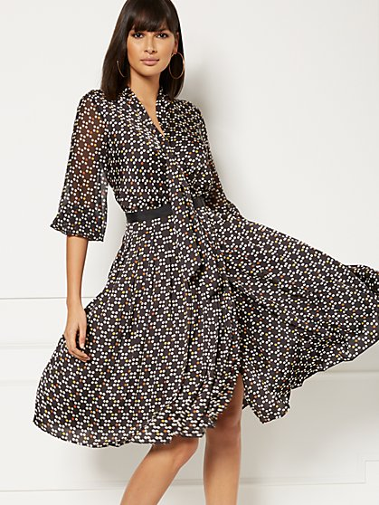 Cassie Dot-Print Wrap Dress - Eva Mendes Collection - New York & Company