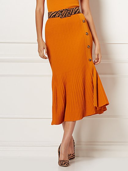 Cecily Orange Pleated Sweater Skirt - Eva Mendes Collection - New York & Company