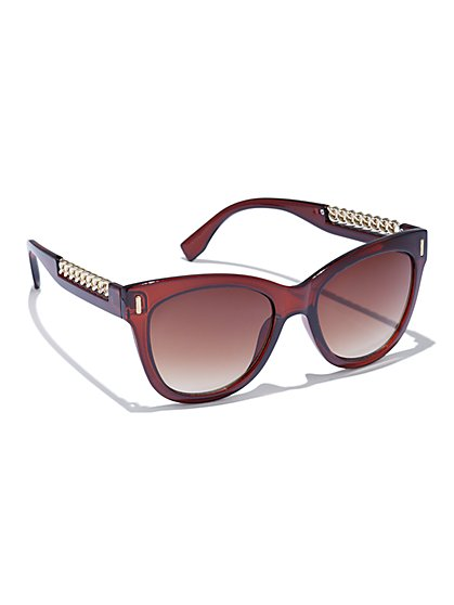Chain-Link Trim Sunglasses - New York & Company