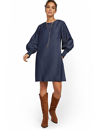 Chambray Balloon-Sleeve Shift Dress - New York & Company