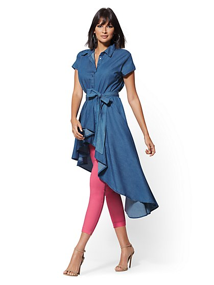 91864e4c9e8910 Chambray Hi-Lo Tunic Shirt - New York   Company ...