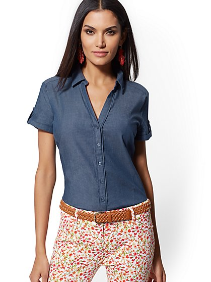 Chambray Madison Stretch Shirt - 7th Avenue - New York & Company