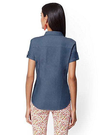 3f4b2688f82 ... Chambray Madison Stretch Shirt - 7th Avenue - New York   Company ...