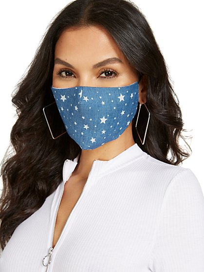 Chambray Star Face Mask - New York & Company