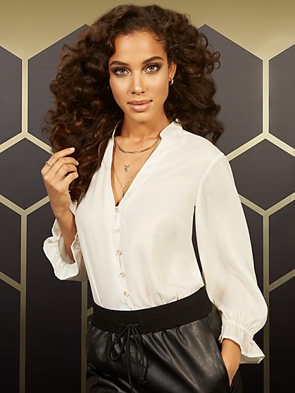 Champange V-Neck Ruffled-Sleeve Blouse - New York & Company