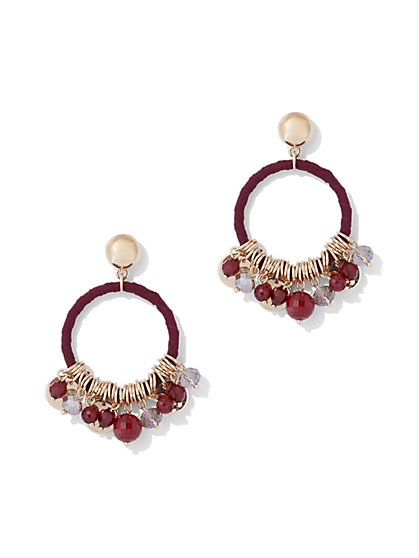 Charm-Accent Hoop Drop Earring - New York & Company