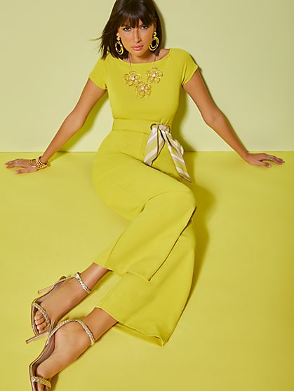 Chartreuse Belted Jumpsuit - New York & Company