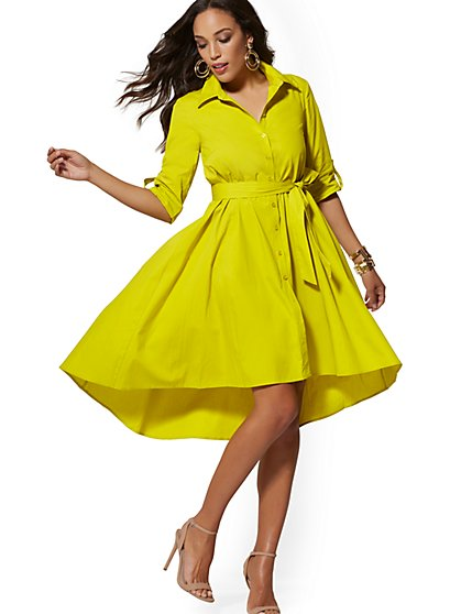 Chartreuse Belted Poplin Shirtdress - New York & Company