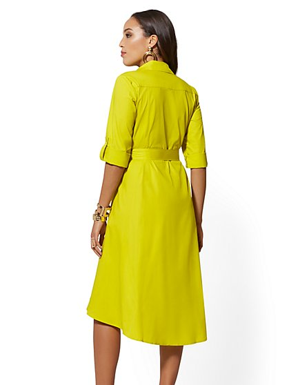 6fd6f4288b ... Chartreuse Belted Poplin Shirtdress - New York   Company ...
