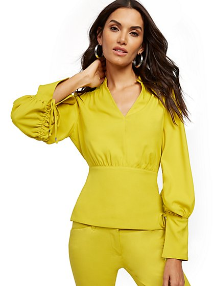 Chartreuse Drawstring-Tie Blouse - 7th Avenue - New York & Company