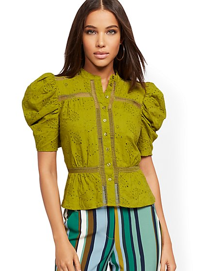 Chartreuse Eyelet Puffed-Sleeve Shirt - New York & Company