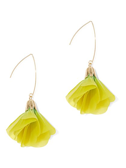 Chartreuse Floral Drop Earring - New York & Company