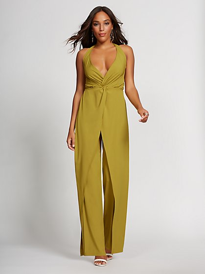 Chartreuse Halter Jumpsuit - Gabrielle Union Collection - New York & Company