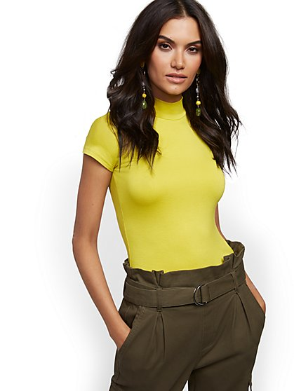 Chartreuse Mock-Neck Tee - New York & Company