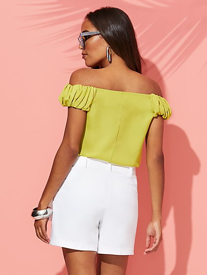 750124cc015 ... Chartreuse Off-The-Shoulder Blouse - Sweet Pea - New York & Company ...