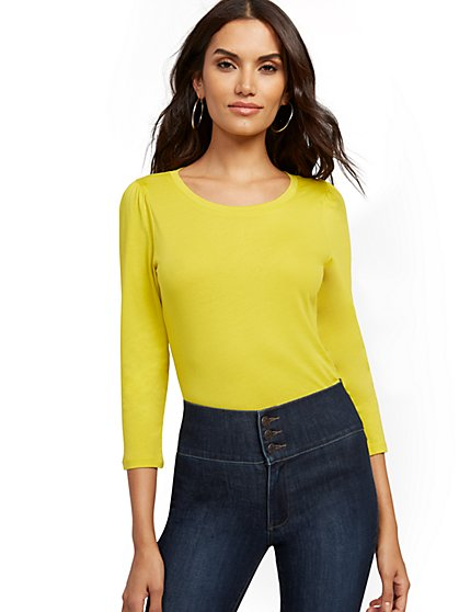 Chartreuse Puff-Sleeve Top - New York & Company
