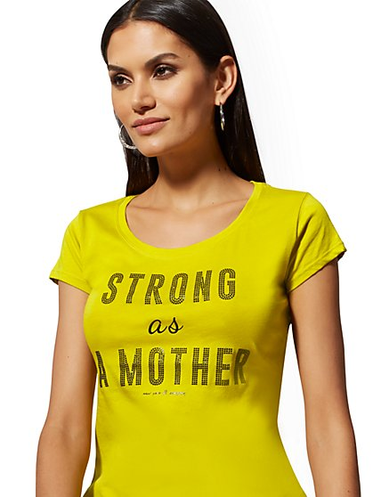 "Chartreuse ""Strong as a Mother"" Graphic Logo Tee - New York & Company"