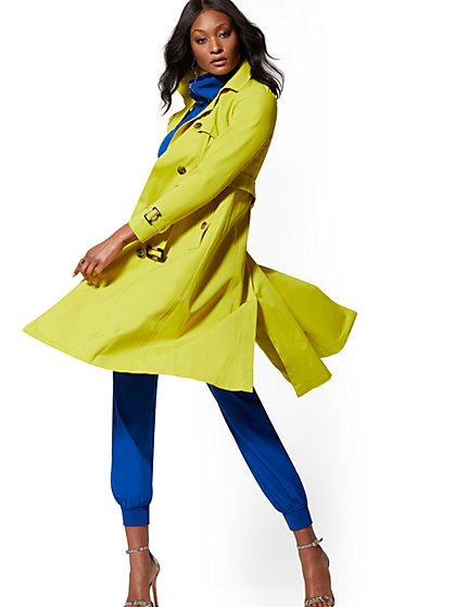 Chartreuse Trench Coat - New York & Company