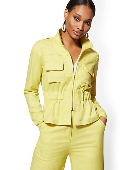 Chartreuse Zip-Front Jacket - 7th Avenue - New York & Company