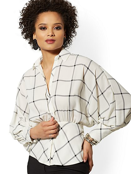 Checked Dolman Peplum Blouse - 7th Avenue - New York & Company