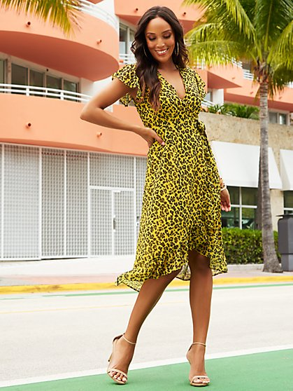 Cheetah-Print Hi-Lo Wrap Dress - Sweet Pea - New York & Company