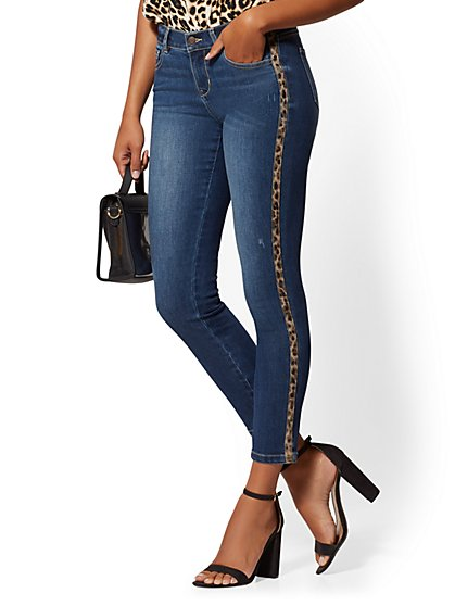Cheetah-Stripe Super-Skinny Ankle Jeans - Indigo - New York & Company