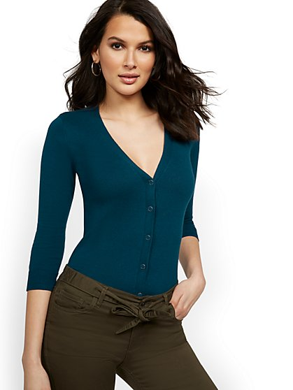 Chelsea V-Neck Cardigan - 7th Avenue - New York & Company