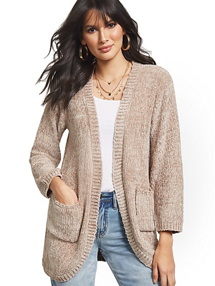 Chenille Patch-Pocket Cardigan - New York & Company