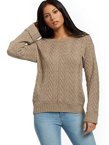 Chevron-Knit Pocket Sweater - New York & Company