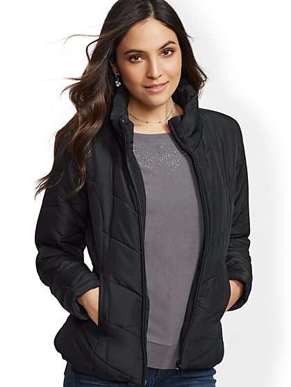 Chevron Quilted Jacket - New York & Company