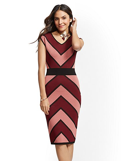 Chevron-Stripe Sheath Sweater Dress - New York & Company