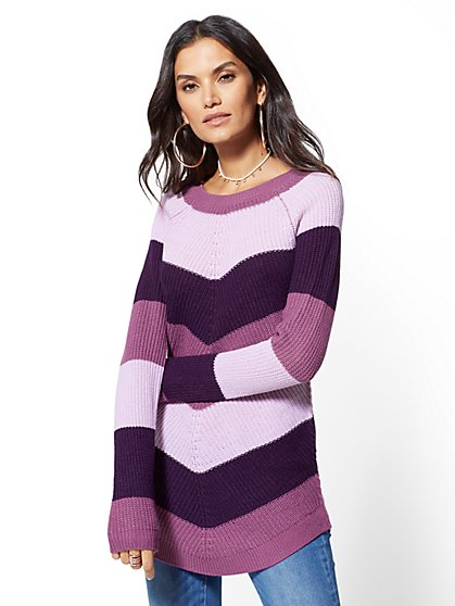 Chevron-Stripe Tunic Sweater - New York & Company