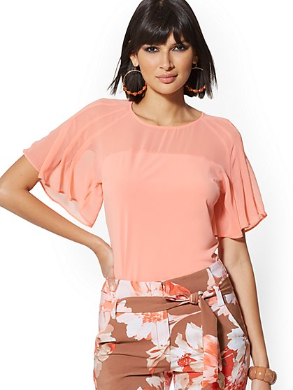 Chiffon Flutter-Sleeve Tee - 7th Avenue - New York & Company