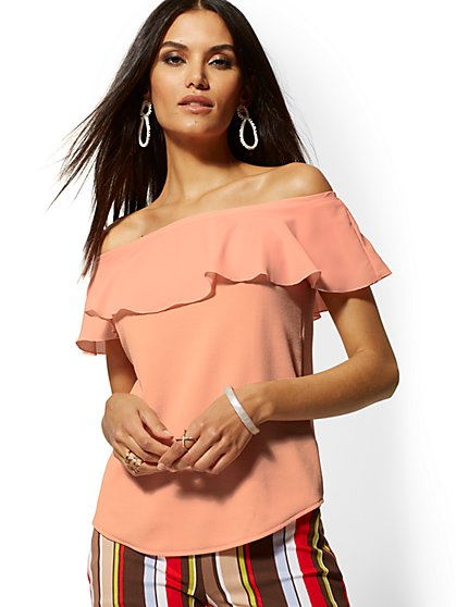 Chiffon-Overlay Off-The-Shoulder Top - New York & Company