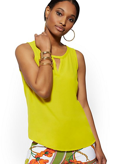 Chiffon-Overlay Sleeveless Top - New York & Company
