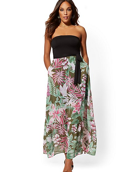 Chiffon-Overlay Strapless Maxi Dress - New York & Company