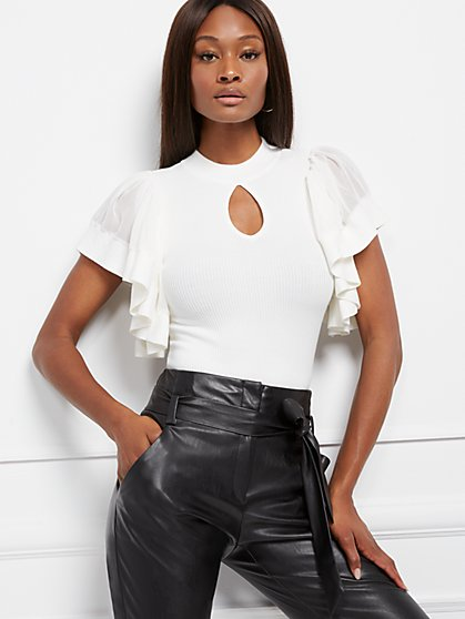 Chiffon-Sleeve Mock-Neck Top - 7th Avenue - New York & Company