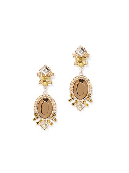 Chocolate & Golden Rhinestone Drop Earrings - New York & Company
