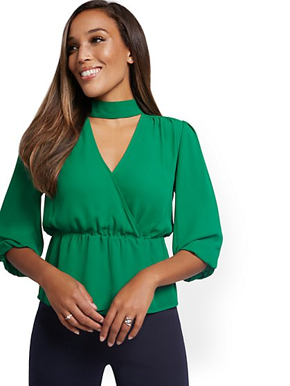 Choker V-Neck Surplice Top - New York & Company