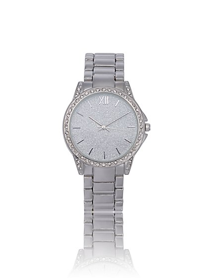 Chrome-Tone Watch with Rhinestone Pave - New York & Company