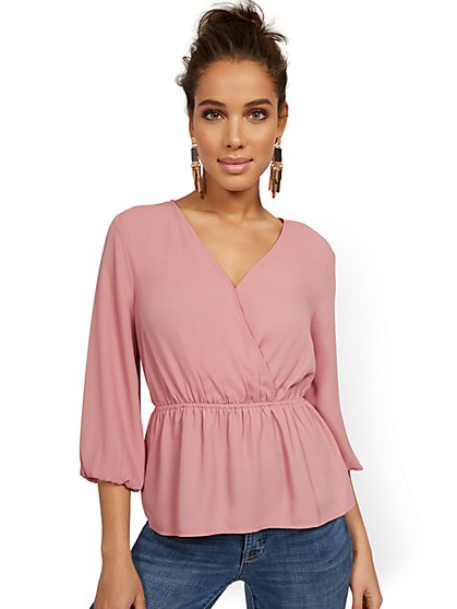 Cinch-Waist Wrap Top - New York & Company