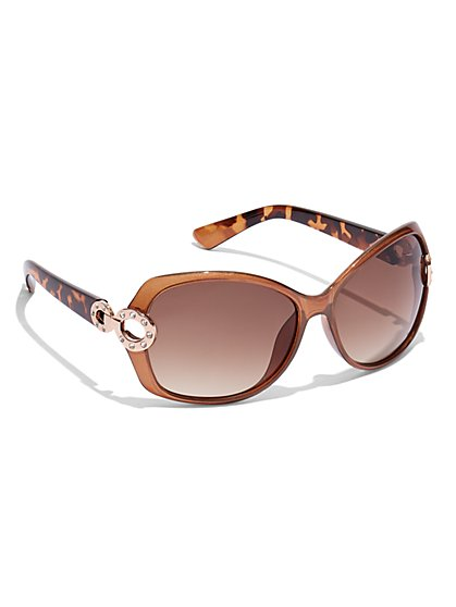 Circle-Accent Wrap Sunglasses - New York & Company