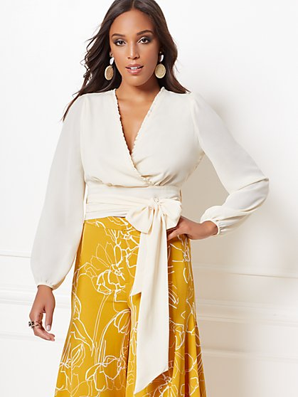 Claire Ivory Wrap Blouse - Eva Mendes Collection - New York & Company