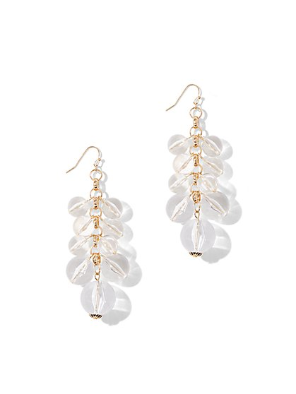Clear Resin Bead Linear Drop Earring - New York & Company