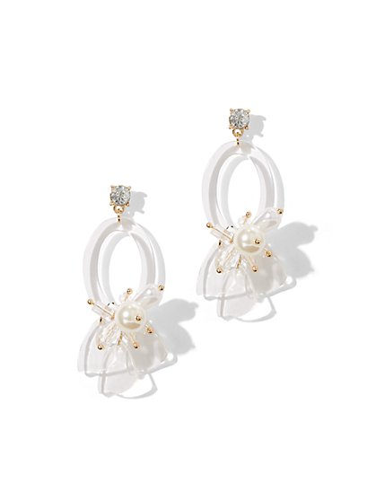 Clear Resin Floral Drop Earring - New York & Company