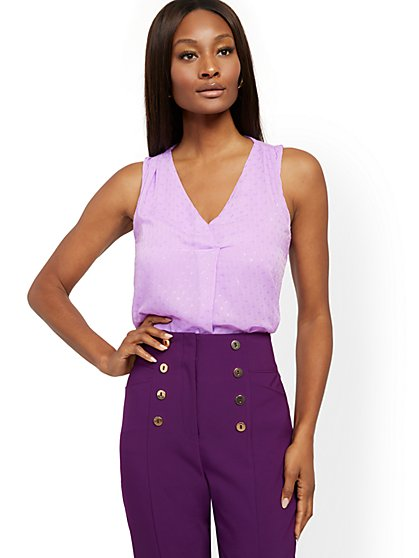 Clip-Dot Chiffon Overlay Sleeveless Top - New York & Company