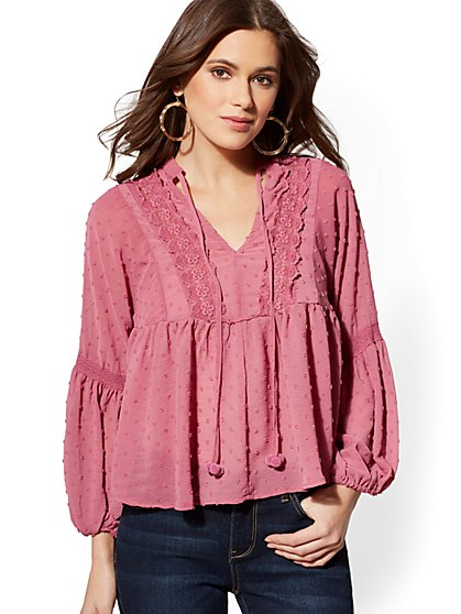 Clip-Dot Peasant Blouse - New York & Company