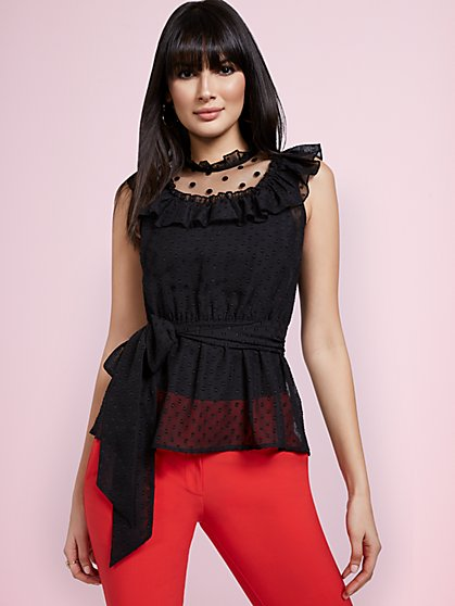 Clip-Dot Tie-Front Blouse - New York & Company