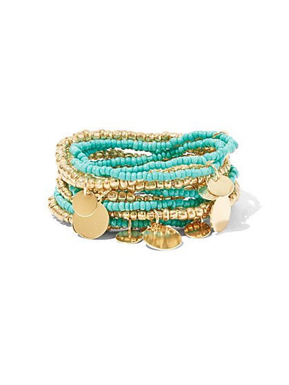 Coin-Accent Beaded Stretch Bracelet - New York & Company